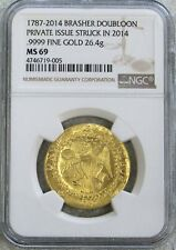 1787 - 2014 GOLD BRASHER DOUBLOON 26.4 GRAM PRIVATE RE-ISSUE NGC MINT STATE 69