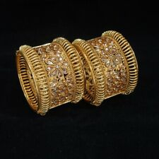 Indian Ethnic 2PC Gold Plated Kada Copper Jewelry CZ Bangles Bracelets Set