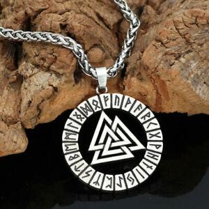 NEW HANDMADE Olmec Apocalypse Silver Necklace With Viking Odin Symbol Pendant