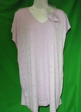 NEW ISAAC MIZRAHI LIVE A200566 LAVENDER RAYON STRETCH/SEQUIN TUNIC KNIT TOP M