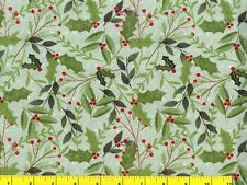 Holly & Pine Branches on Light Green Christmas Quilting Fabric 1/2 Yard  #3051