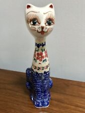 "Unikat Polish Pottery Cat Figurine 8.5"" Tall Signed"