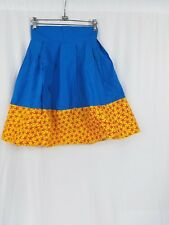 "Women African Ankara With Plain Blue Kitenge Plaited Short Skirt Waist 24"" SIZE2"