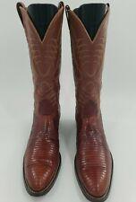 Vintage Nocona Exotic Lizard Skin Men's Western Cowboy Boots Cognac Size 12