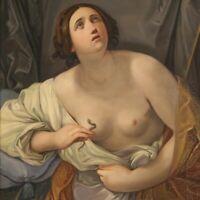 Dipinto olio su tela suicidio di Cleopatra quadro con cornice stile antico 900