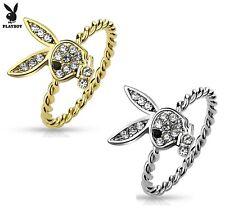 Playboy Bunny CZ Gem Paved Rope Ring - Gold / Rhodium Plated Playboy Women Ring