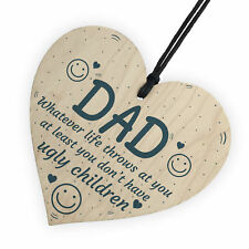 Father's Day Birthday Funny Novelty Wood Heart Sign Dad Son Children Card Gifts