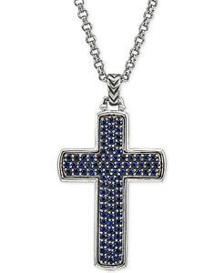 Pavé Set Round-Shape Blue Sapphires Sparkle Men's Cross 925 Pure Silver Pendant