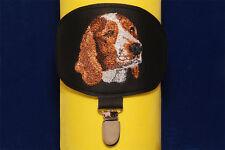 Welsh Springer Spaniel arm band ring number holder with clip. For dog shows.