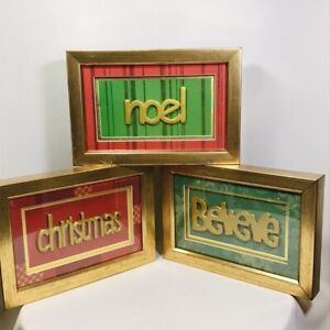 Christmas Believe Noel Hanging Wall Lot of 3 Pictures Christmas Decor Gold Frame