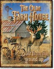 OLD FARM HOUSE WINDMILL PICTURE METAL SIGN DEER BARN RUSTIC CABIN LODGE HOME
