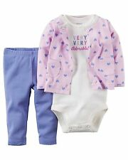 Carters Little Layette Girl 3 Piece Cardigan Set 12 M Pink Purple Hearts NWT