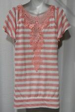 NWOT No Boundaries Plus Size 2X Striped Peach Lace Back Top