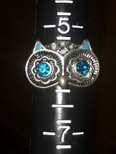 Size 6 silver tone owl ring With blue rhinestones