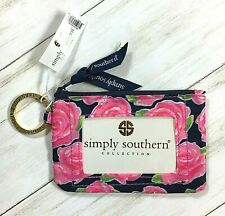 SIMPLY SOUTHERN KEY ID RING PURSE BAG CHANGE WALLET ROSES PRINT PINK AND NAVY