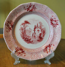 Lovely Antique Red Transferware Ironstone Staffordshire Plate Meir Roselle