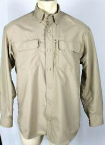Duluth Trading Mens Convertible Sleeve Vented Fishing Shirt Tan/Khaki Sz Medium