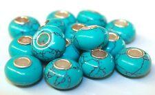 Restaurato Turchese Argento 925 Perle Perline Ciambella Pietre Preziose Fascino