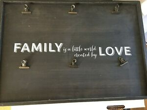 """Family is ...Created by love""-black wooden sign -photo holder clips BLACKBOARD"