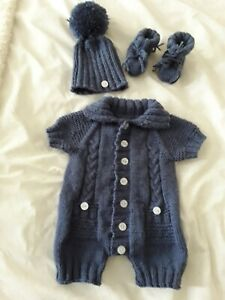 """Hand knitted dolls clothes. Fit  17/19"""" reborn baby doll. Or new baby"""