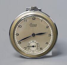 Antique WWII 1935-40 Stowa Swiss 15 Ruby Ancre Pocket Watch Chrome 46mm works