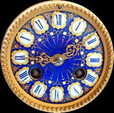 XIXème s - Mouvement Pendule Polychrome Sèvres Bleu et Or - Fonctionne & Sonne