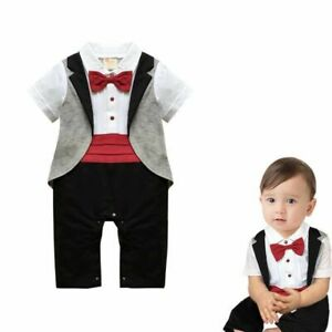 Baby Boy Tuxedo Bodysuit Outfit Bow Tie Christening Wedding 6 months- 2 years