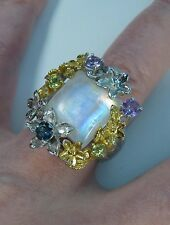 10 CTW MOONSTONE AMETHYST TOPAZ PERIDOT RING #7.5 14k WHITE GOLD over 925 SILVER