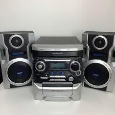 Raro Retro Philips Fw M735 MP3 Mini Hi Fi Sistema 3 Disc Changer, Double Cassette