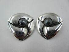 Vintage Modernist Sterling Hematite Earrings Pierced Geometric