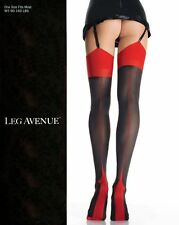 SPANDEX/LYCRA OPAQUE CUBAN HEEL Stockings BLACK w/ RED O/S