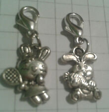 TIBETAN SILVER(2) CHARMS RABBITS DIFFERENT   LOBSTER CLASP FOR BRACELETS D/SIDED