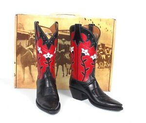 New Lucchese Classics Black and Red Cowboy Boots Wmn's 7B Floral Tulips Flowers