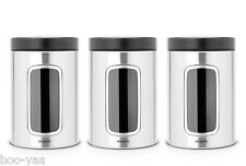 Brabantia 1.4l 3 Storage Window canisters in Matt Steel