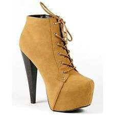 Camel Brown Lace Up High Heel Platform Fashion Ankle Boot Bootie Qupid Pratt-05x
