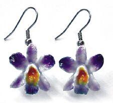 JE047 Purple Orchid Earrings - Surgical Steel Porcelain Dangle - little Critterz