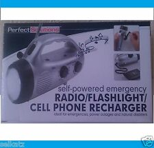 SELF POWERED EMERGENCY RADIO FLASHLIGHT CELL PHONE RECHARGER POWER OUTAGES
