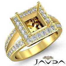 Diamond Engagement Ring Princess Semi Mount 14k Yellow Gold Split Shank 0.6Ct