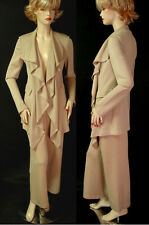 NWT ST JOHN FAWN RUFFLE FRONT PANT SUIT SZ 4 MILANO KNIT CROPPED PANTS POCKETS