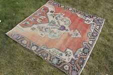 "Vintage Handmade Turkish Oushak Red Area Rug Carpet 52""x51"""