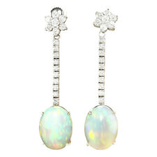 7.87 Carat Natural Opal 14K Solid White Gold Diamond Earrings
