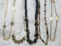"5 Vintage Gold Tone Short Necklaces Jewelry Lot 29E 16-27"""