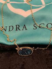 New Kendra Scott Gold Tone Navy Blue Druzy Quartz Bar Necklace