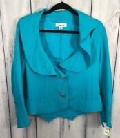 Cowan New Womens Size Small Blazer Short Jacket Blue Turqouise Lined Button Up
