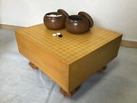 Y1228 GO board with legs stones bowls set strategy game Japanese antique Japan