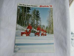 1974 Simplicity sno-away snow thrower brochure