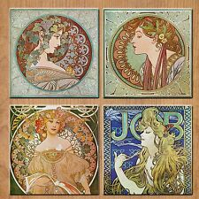 Alphonse Mucha Art Nouveau set of 4  Rubber Drink Coaster
