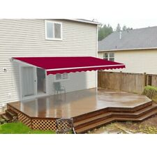 ALEKO Retractable Patio Awning 8 X 6.5 Ft Deck Sunshade Burgundy Color