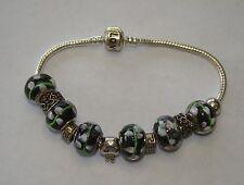 "Sterling Silver & Glass 8"" Slide Charm Bracelet - 30.76 Grams - Item# Q016"