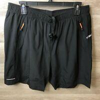 KP Sun Mens Size XL Black Running Athletic Zipper Shorts Reflective NEW